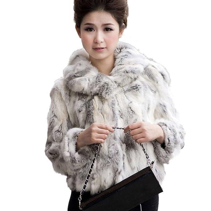 Fur Story 010120 para Mujer Corto Real Pelo de Conejo Abrigo Gris Natural 54: Amazon.es: Ropa y accesorios