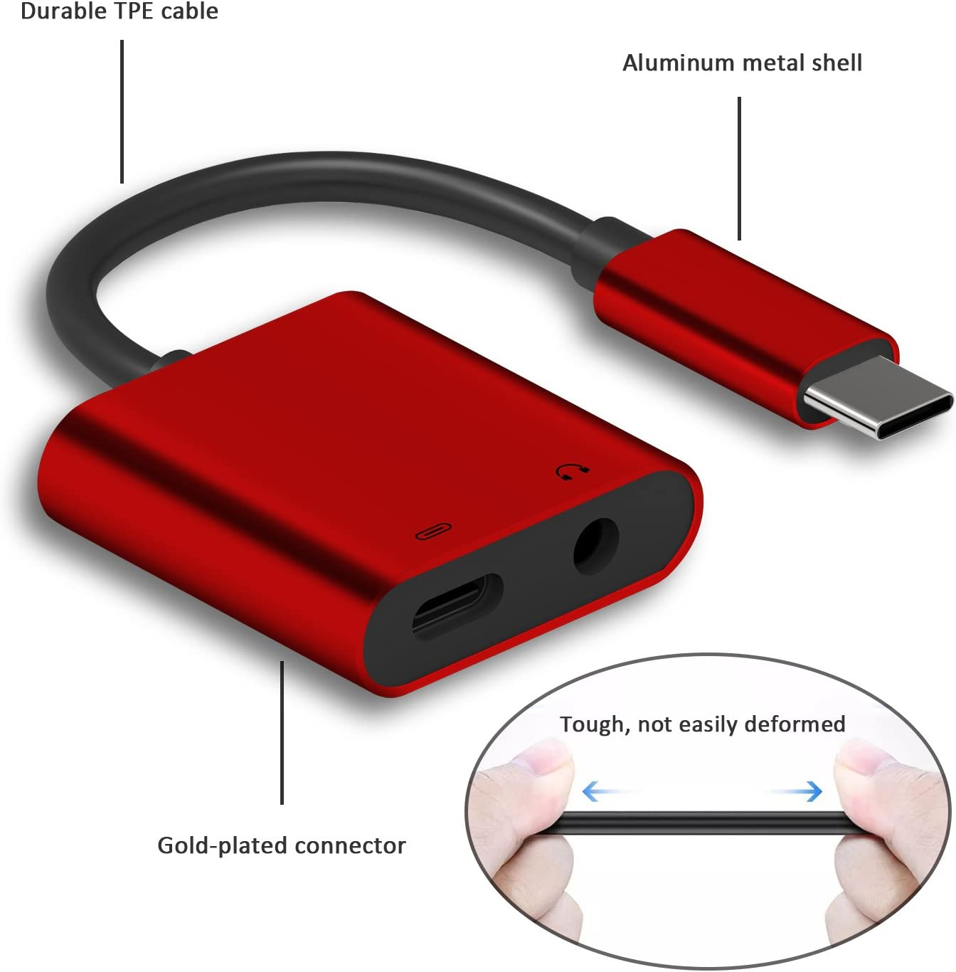 Dreamvasion USB-C to 3.5mm Aux Headphone Splitter and USB C PD Fast Charging Connector Cord with DAC /& Hi-Res for Google Pixel 2 2XL 2 in 1 Type C Audio Adapter and Charger HTC Huawei,Sony and More