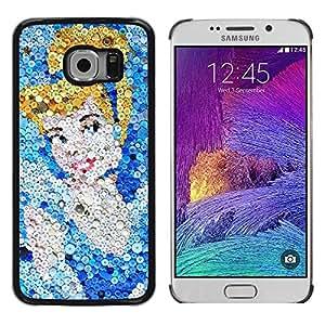 FECELL CITY // Duro Aluminio Pegatina PC Caso decorativo Funda Carcasa de Protección para Samsung Galaxy S6 EDGE SM-G925 // Cinder Character Art Glitter Picture Cartoon