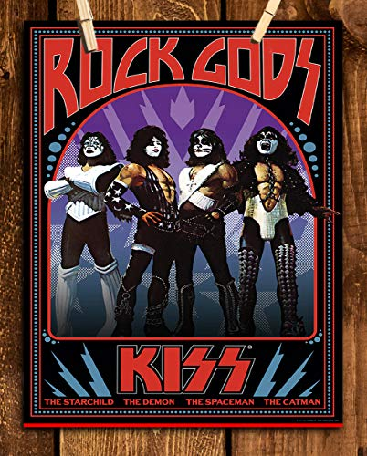 """""""Rock Gods"""" Kiss Band- Poster Print- 8 x 10 Wall Print- Ready To Frame. Iconic Rock Band Sign Featuring the Members Nicknames. Home-Studio-Bar-Dorm-Man Cave Decor. Perfect Gift For All Kiss Fans."""