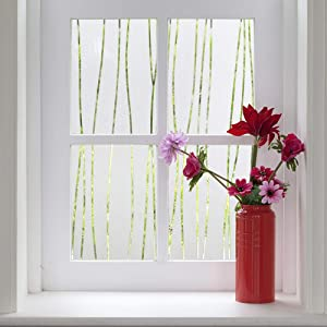 Finnez Window Film for Privacy and Light Protection | Vinyl Sticker Film Creates a Frosted Glass Look |Static Cling | Perfect for Home and Office (17.7'' x 78.7'', Irregular Stripe)