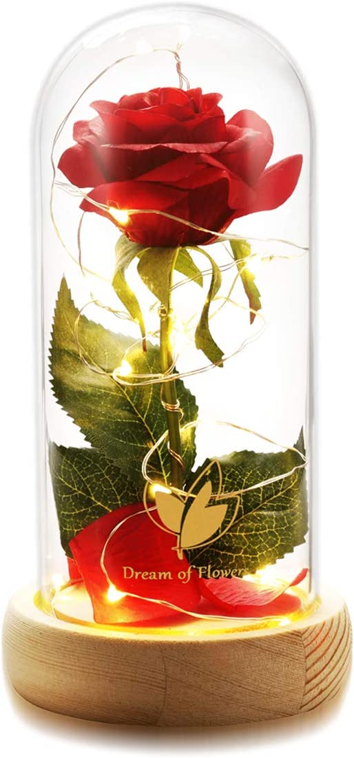Beauty and The Beast Red Enchanted Rose Kit Red Rose Flower LED Light in Glass Cover Dome on Wooden Base for Home Decor Valentine's Day Anniversary Birthday Wedding
