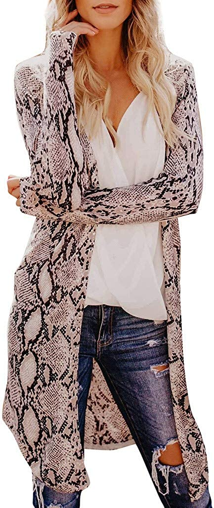 LENXH Women's Cardigan Jacket Fashion Top Leopard Print Jacket Long Sleeve Cardigan Casual Top
