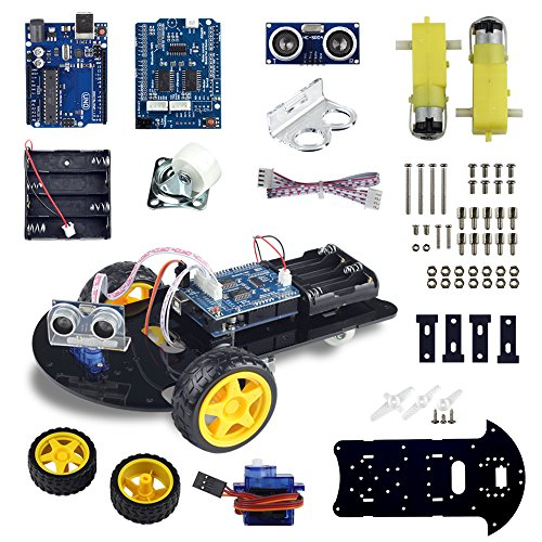 UCTRONICS Smart Robot Car Kit for Arduino Automatic Avoidance of Obstacles with UNO R3, 2-wheel Drives, HC-SR04 Ultrasonic Sensor, L293D Motor Control Shield, Micro Servo Motor 9g by UCTRONICS