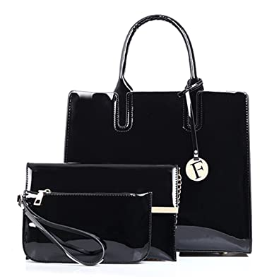 d0e274cf14ea Women Composite Bag 3 Pcs Set Tote Luxury Patent Lady Leather Purse And  Handbag Famous