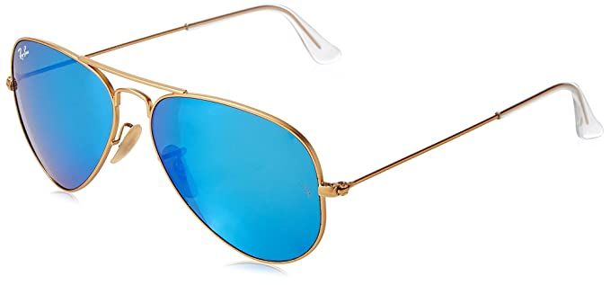 ray ban polarized aviator  ray ban aviator large metal matte gold frame cry.green mirror multil.