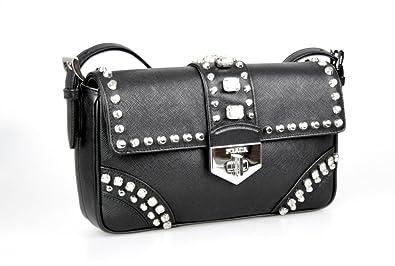 e40af2f617dc Prada Women's BR5084 Black Saffiano Leather Evening Purse: Handbags ...