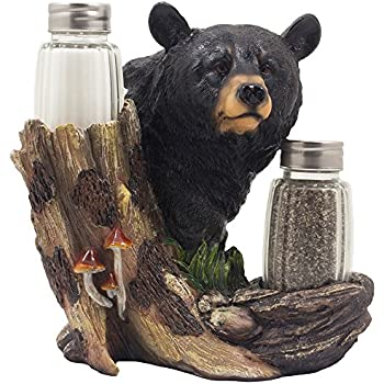 black bear kitchen accessories black glass salt and pepper shaker set 4649