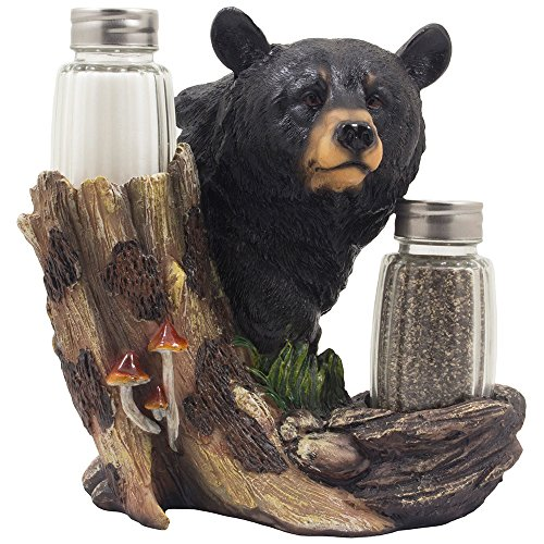 - Black Bear Glass Salt and Pepper Shaker Set Sculpture Kitchen Decor in Rustic Lodge and Cabin Figurines by Home-n-Gifts