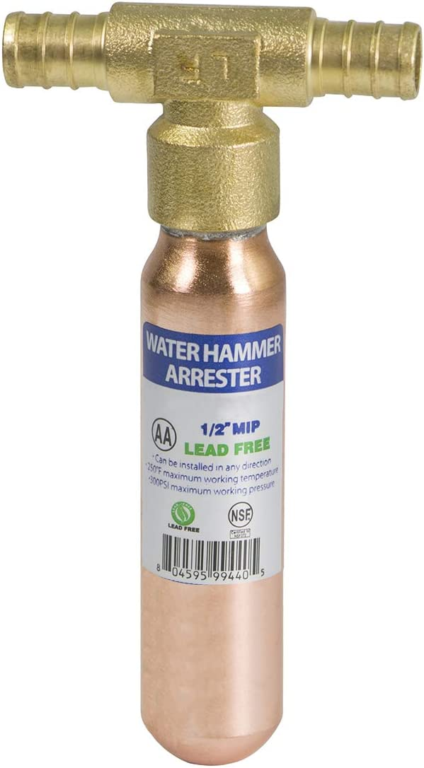 "SUPPLY GIANT IBNQ0034 PEX Barb Hammer Arrestor, 1/2"", Copper"