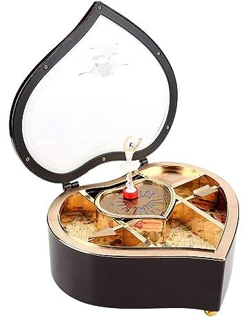 Forma de corazón de Moda Exquisito Plástico Bailarina Rotación Caja de música Decoración de Mesa (