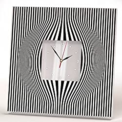 Abstract Minimalistic Lines Wall Clock Framed Square Mirror Art Home Room Decor Gift Minimal Design
