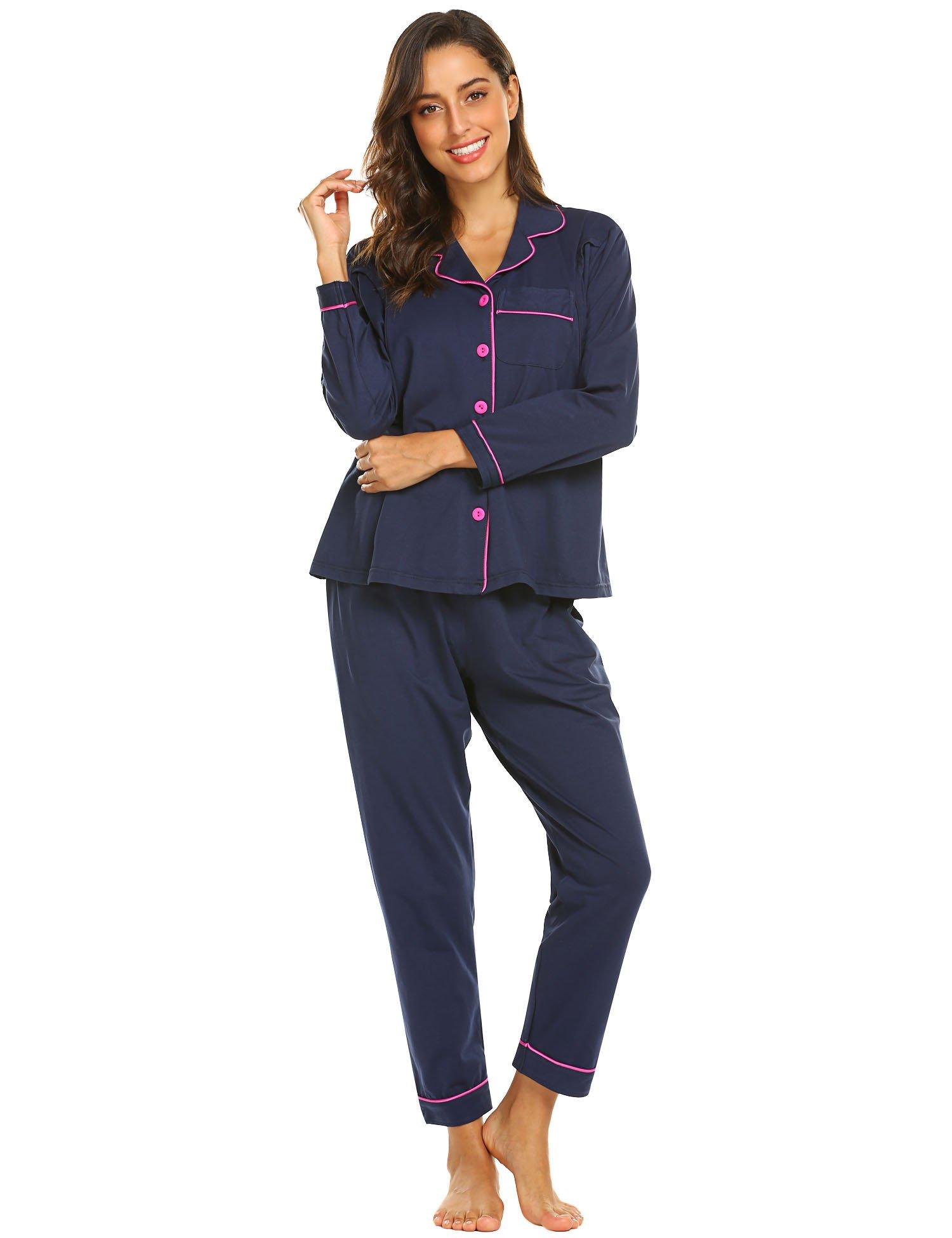 Ekouaer Womens Maternity Nursing Cotton Pajamas Breastfeeding Sleepwear Set, Navy Blue, Medium