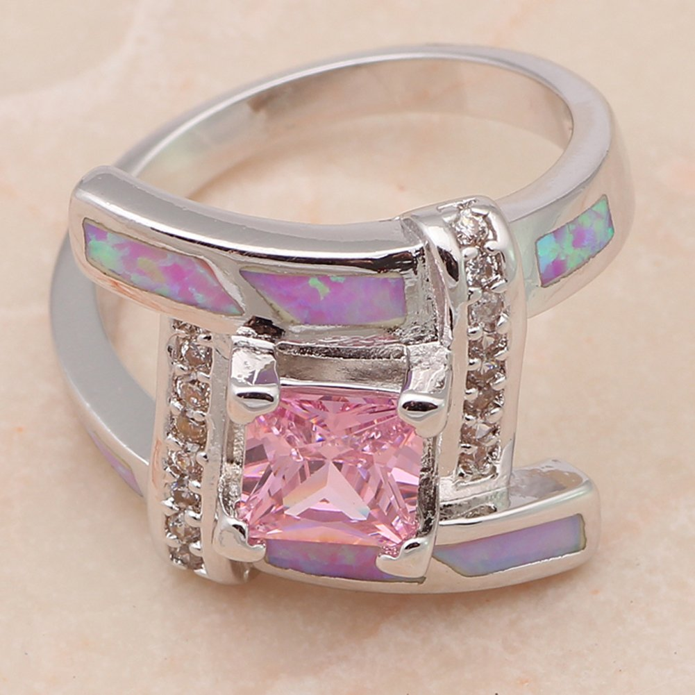 F/&F Ring Fashion Pink Zircon Jewelry Pink fire Opal Rings For Women Wedding Ring Engagement Bridal Rings