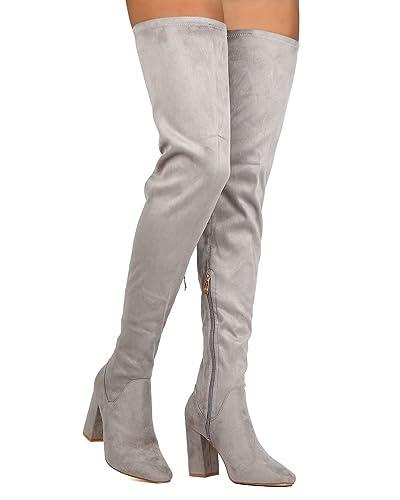 62a68d272ebb CAPE ROBBIN Women Faux Suede Thigh High Block Heel Boot FG69 - Grey (Size