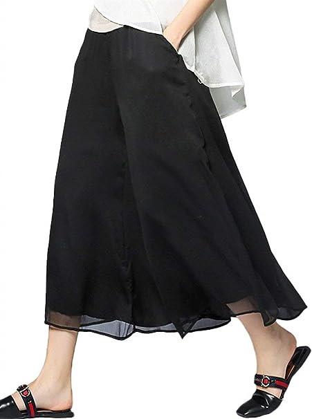 Mujer Pantalones Falda Elegantes Verano Pantalones Anchos Palazzo ...