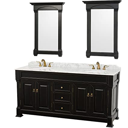 Wyndham Collection Andover 72 inch Double Bathroom Vanity in Antique Black,  White Carrera Marble Countertop, White Undermount Round Sinks, and 28 inch  ...