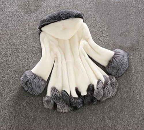 Capucha Artificial de Mujer Corta Manga de Abrigo Chaqueta Larga Blanco con Invierno para de Pelo xY8wRIqC