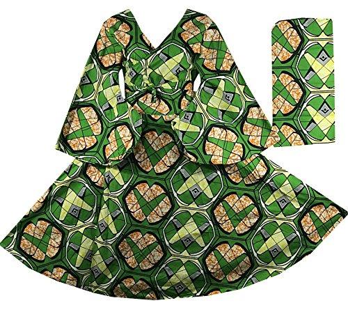 V Orange African Green Dress P11 Sleeves Print Kente Bell Maxi Decoraapparel Around Cotton Wrap Dress Long Neck ZwnB8q