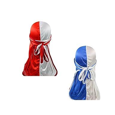 Hip-hop Two Tone Men Silky Durag Cap(2pcs) Long Tail Chemo 360 Waves Du-rag Hat Red/&Blue/&White