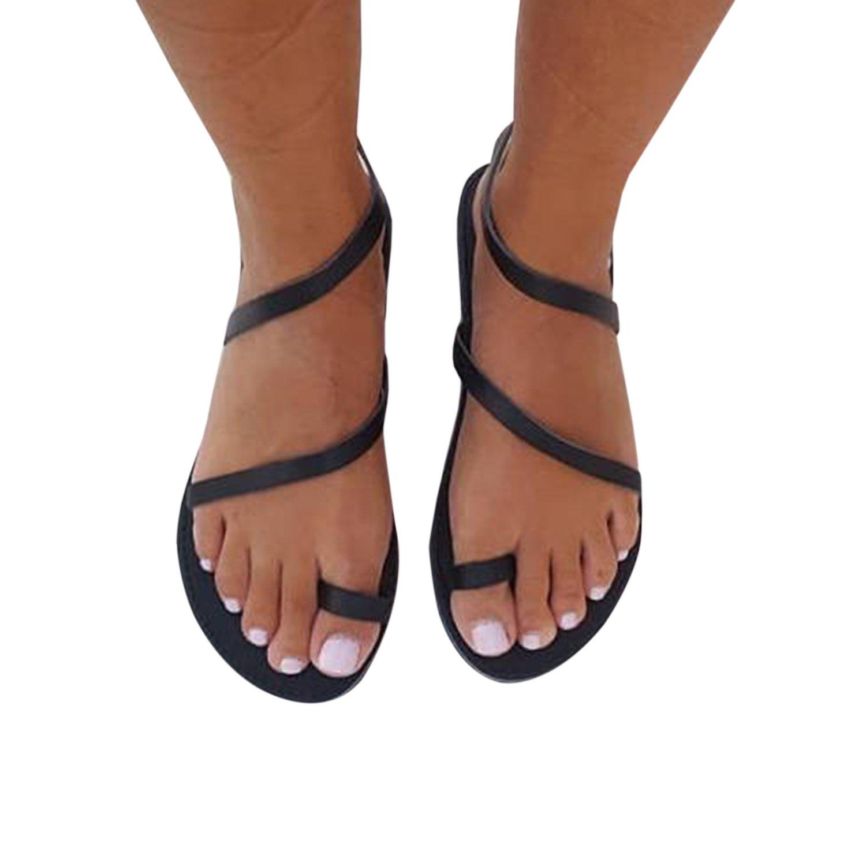 Damen Sandalen Schuhe Flache Gladiator Thong Flip Flop Casual Sommerschuhe  36 EU|Schwarz
