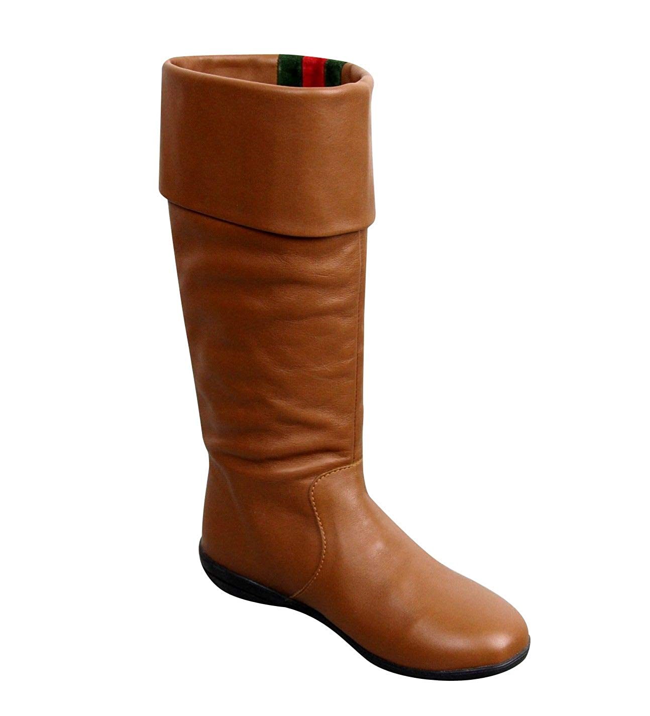 2338d5c2a Amazon.com | Gucci Kids Brown Leather Boots with Web Detail 285230 | Boots