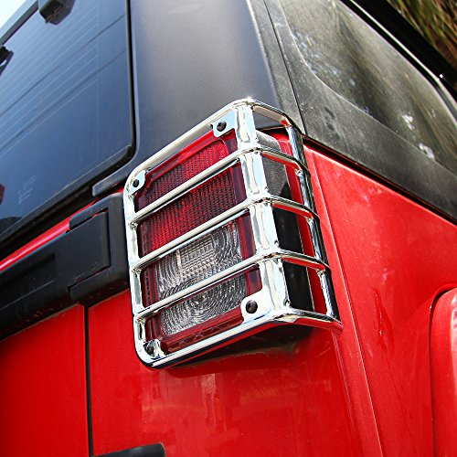 JeCar Euro Rear (Tail Light)Taillight Guards Cover for 2007 2008 2009 2010 2011 2012 2013 2014 2015 2016 2017Jeep Wrangler Unlimited Accessories – Pair (Chrome)