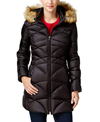 a6d0b20815b9 Image Unavailable. Image not available for. Color  Jones New York Womens  Faux-Fur-Trim Quilted Down Puffer Coat ...