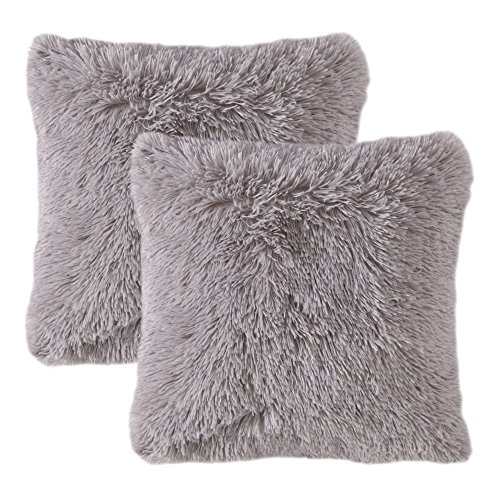MIULEE Juego de 2 Cojines Protectores Faux Fur Throw Funda de cojin Deluxe Home Decorativo Cuadrados y Suaves Cojines PeloPara la Hogar Sofa Cama del Coche 18x18Inch 45x45cm Gris