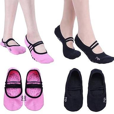 LUOEM 3 pares de calcetines de yoga pilates antideslizantes agarre calcetines de algodón ballet baile deporte tobillo calcetines para mujeres niñas: ...