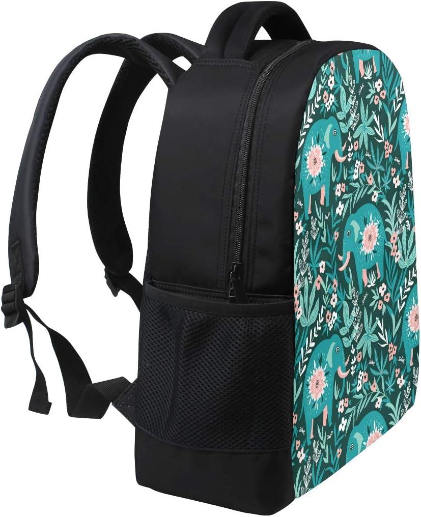 JERECY Boho Elephant Floral Print Casual Backpack Custom Office School Laptop Bag Travel Daypack
