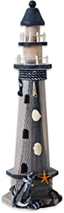 Wooden Lighthouse Decor, 19.5 Inch Decorative Nautical Lighthouse Rustic Ocean Sea Beach Themed Lighthouse Decoration, Handcrafted Tabletop Nautical Themed Home Decor Bathroom Decor(Anchor & Starfish)