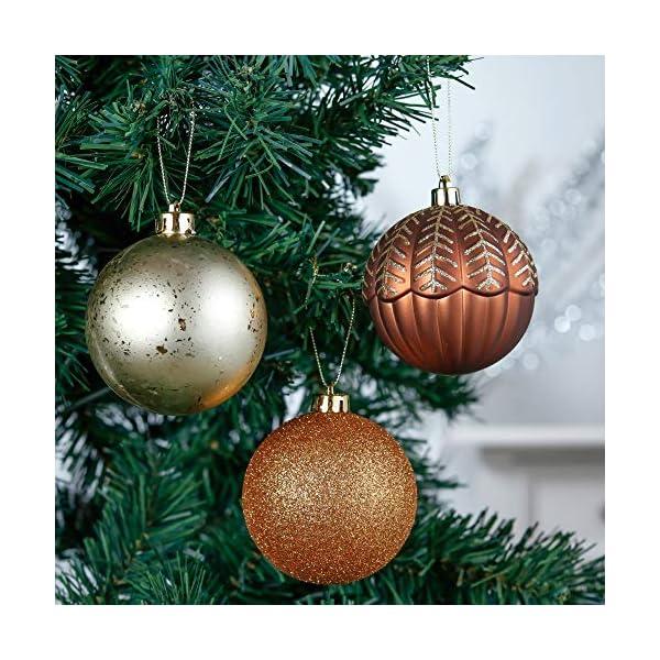 Valery Madelyn Palle di Natale 60 Pezzi di Palline di Natale, 3-5 cm di Rame del Bosco e Oro Infrangibile Ornamenti di Palla di Natale Decorazione per la Decorazione Dell'Albero di Natale 4 spesavip