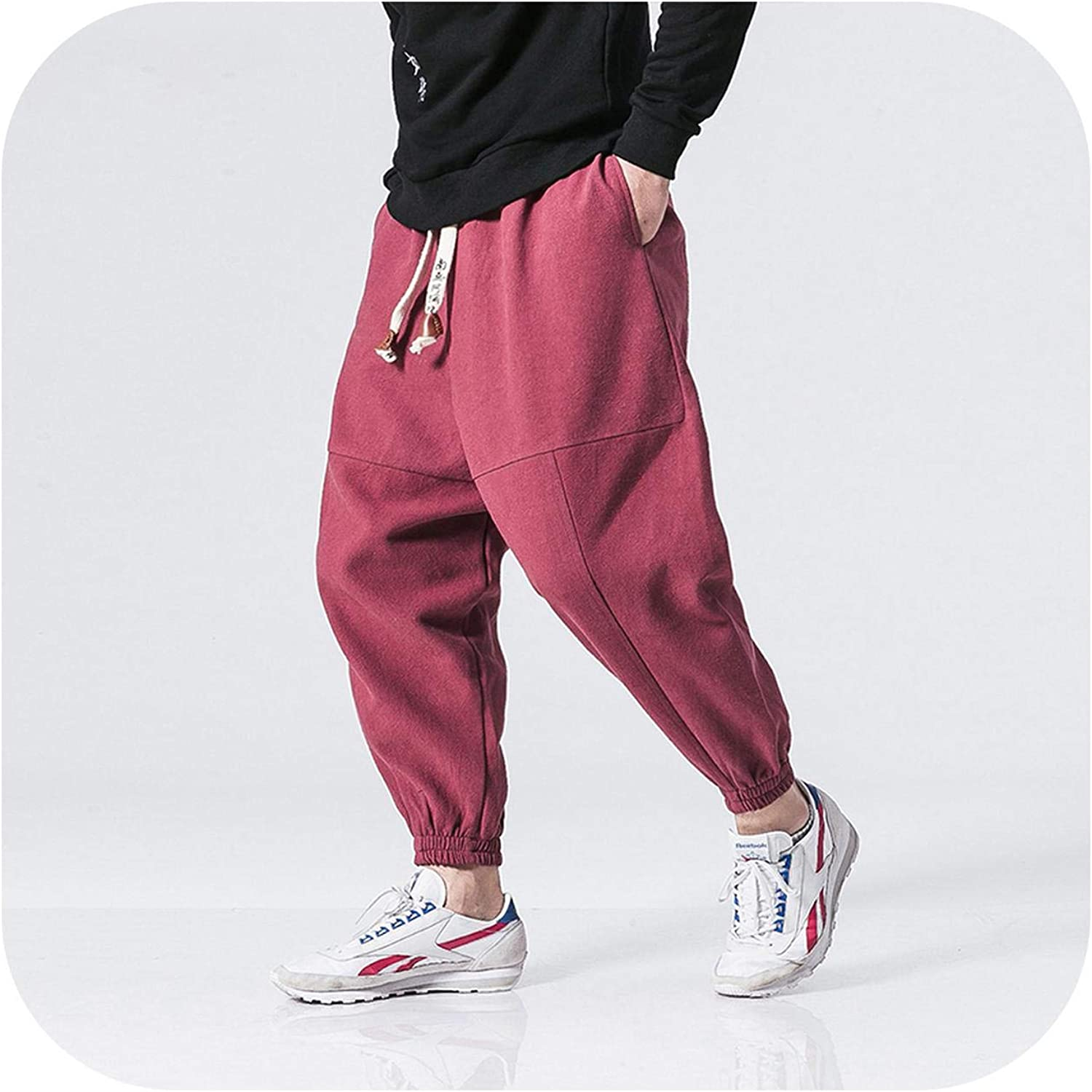 UUYUK Men Elastic Waist Plus Size Fleece Jogger Sweatpants Trousers