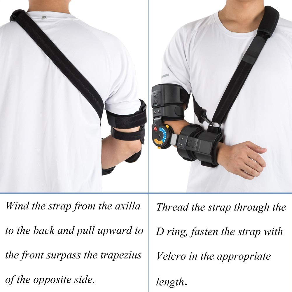 Hinged ROM Elbow Brace with Sling, Adjustable Post OP Elbow Brace Stabilizer Splint Arm Injury Recovery Support-Left by Medibot (Image #6)