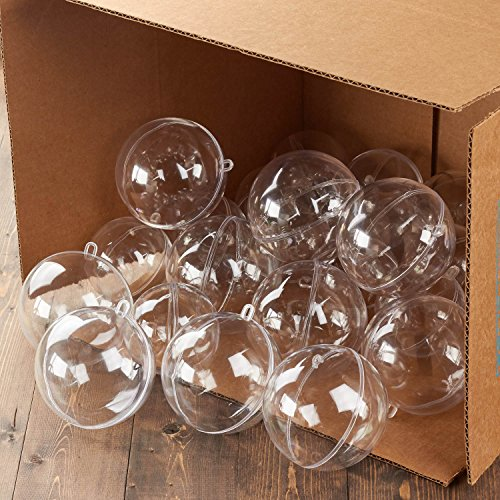 Bulk Case of 24 Clear Acrylic 100mm Fillable Keepsake Ball Ornaments by LACrafts (Image #4)