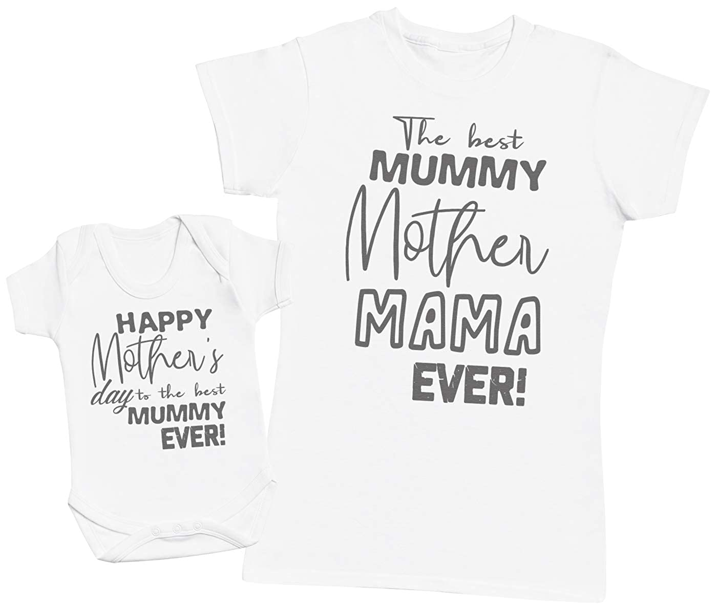Zarlivia Clothing Happy Mother\'s Day - Matching Mother Baby Gift Set - Womens T Shirt & Baby Bodysuit