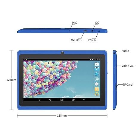 Yuntab 8GB A88 Tablet 7 pulgadas WiFi Allwinner A33 Quad-Core HD 1024x600 Doble cámara Multi-touch Bluetooth Android 4.4 Google Play (Azul): Amazon.es: ...