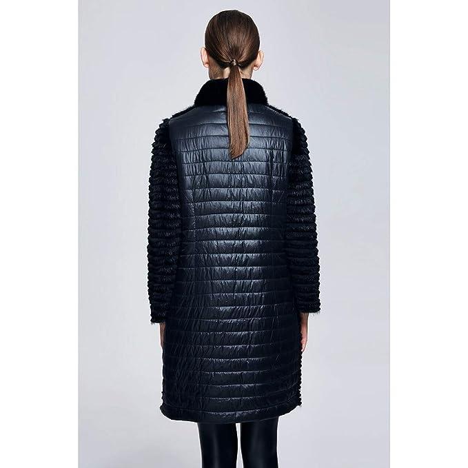 URSFUR Chaqueta de invierno de piel de mujer Real Mink Rex Conejo Fur Outwear abrigos negro: Amazon.es: Ropa y accesorios