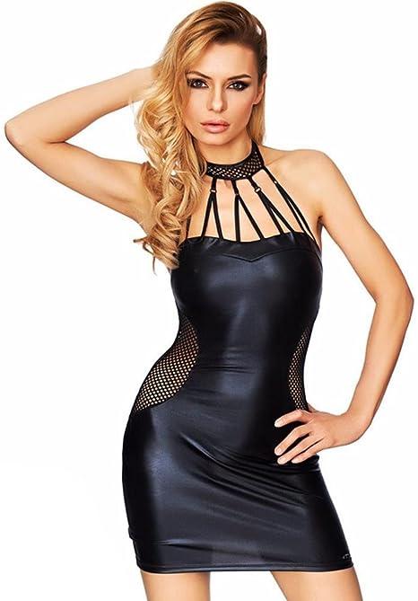 ZOYOL Babydoll Mujeres Negro Vestido de Cuero de imitación de PVC ...