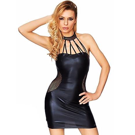 Women Babydoll Black PVC Imitation Leather Dress Plus Size M-5XL Paint  Skirt Night Show Costumes