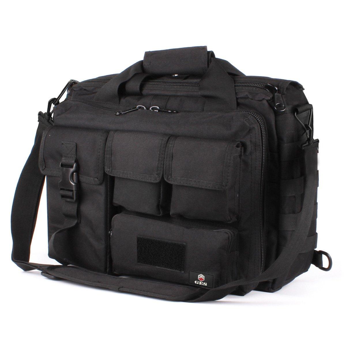 GES Laptop Bag - 17.3 Inch Men's Messenger Bag Multifunction Tactical Military Briefcase, Computer Shoulder Handbags for Laptop/Camera, Black