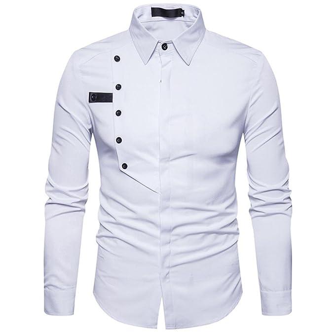 Resplend Camisa de Vestir de Manga Larga de algodón Formal de Manga Larga de algodón Casual