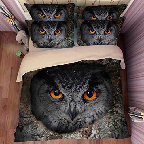 Wonderful Black Owl Cotton Microfiber 3pc 80''x90'' Bedding Quilt Duvet Cover Sets 2 Pillow Cases Full Size by DIY Duvetcover
