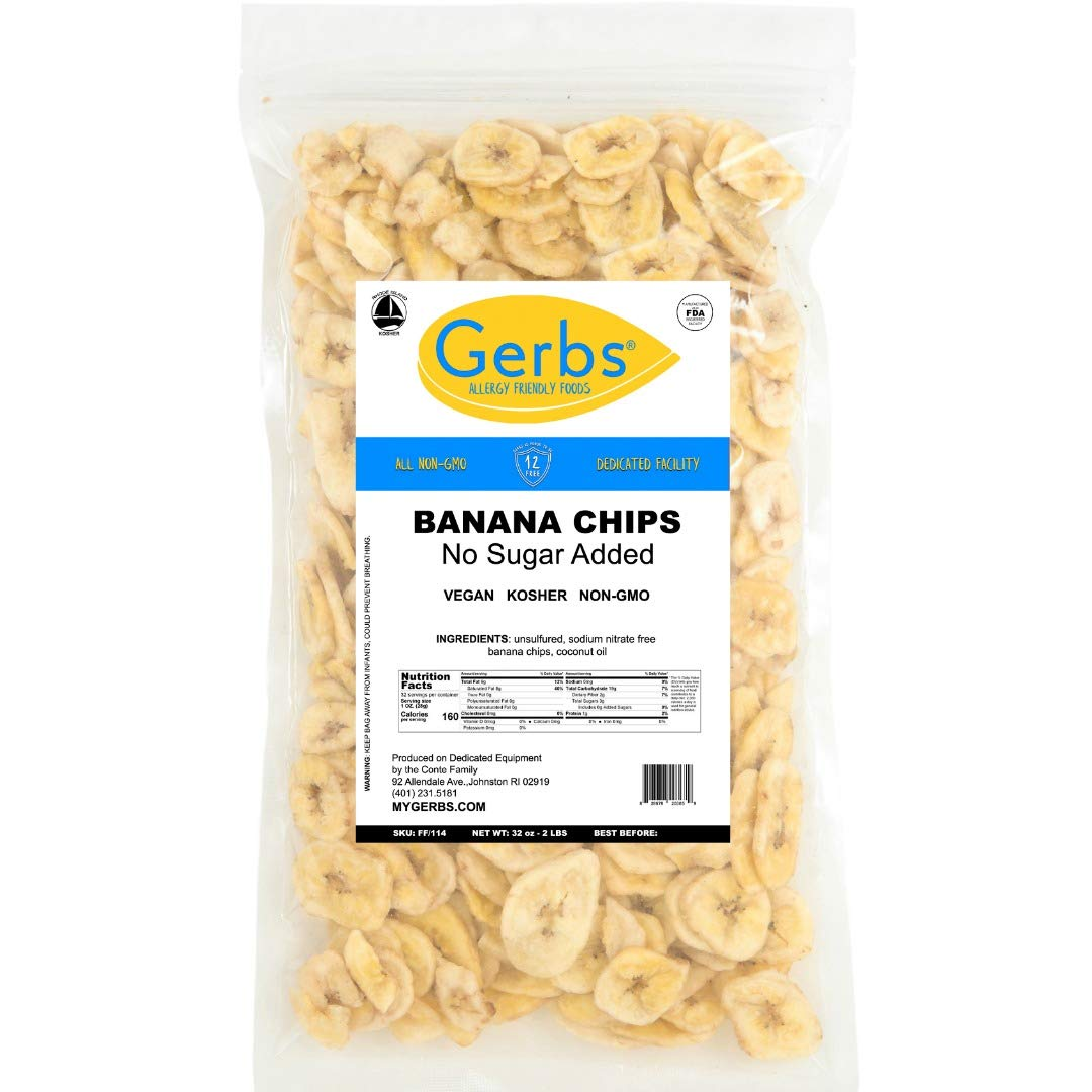 Gerbs Banana Chips Unsweetened, 2 LBS – Unsulfured & Preservative Free