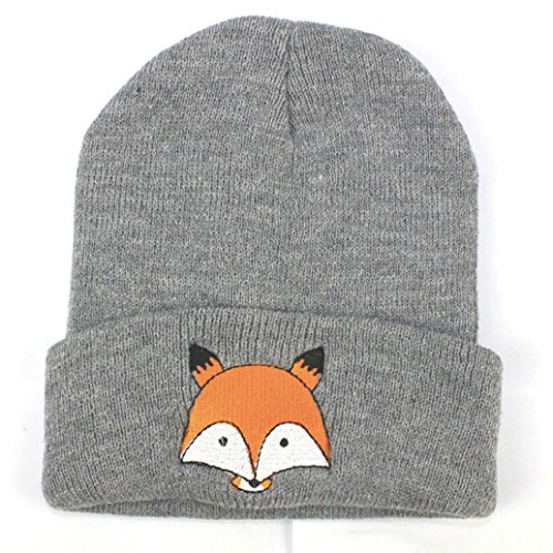 TAORE Toddler Infant Baby Cotton Soft Cute Fox Knit Kids Hat Warm Winter Hats Beanies Cap (Gray)