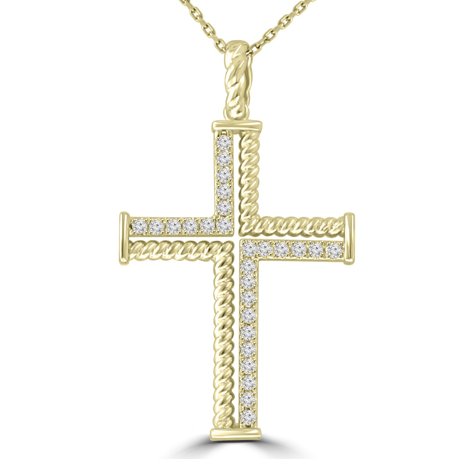 0.37 ct Ladies Round Cut Diamond Cross Pendant Necklace (G Color SI-1 Clarity) in 14 kt Yellow Gold