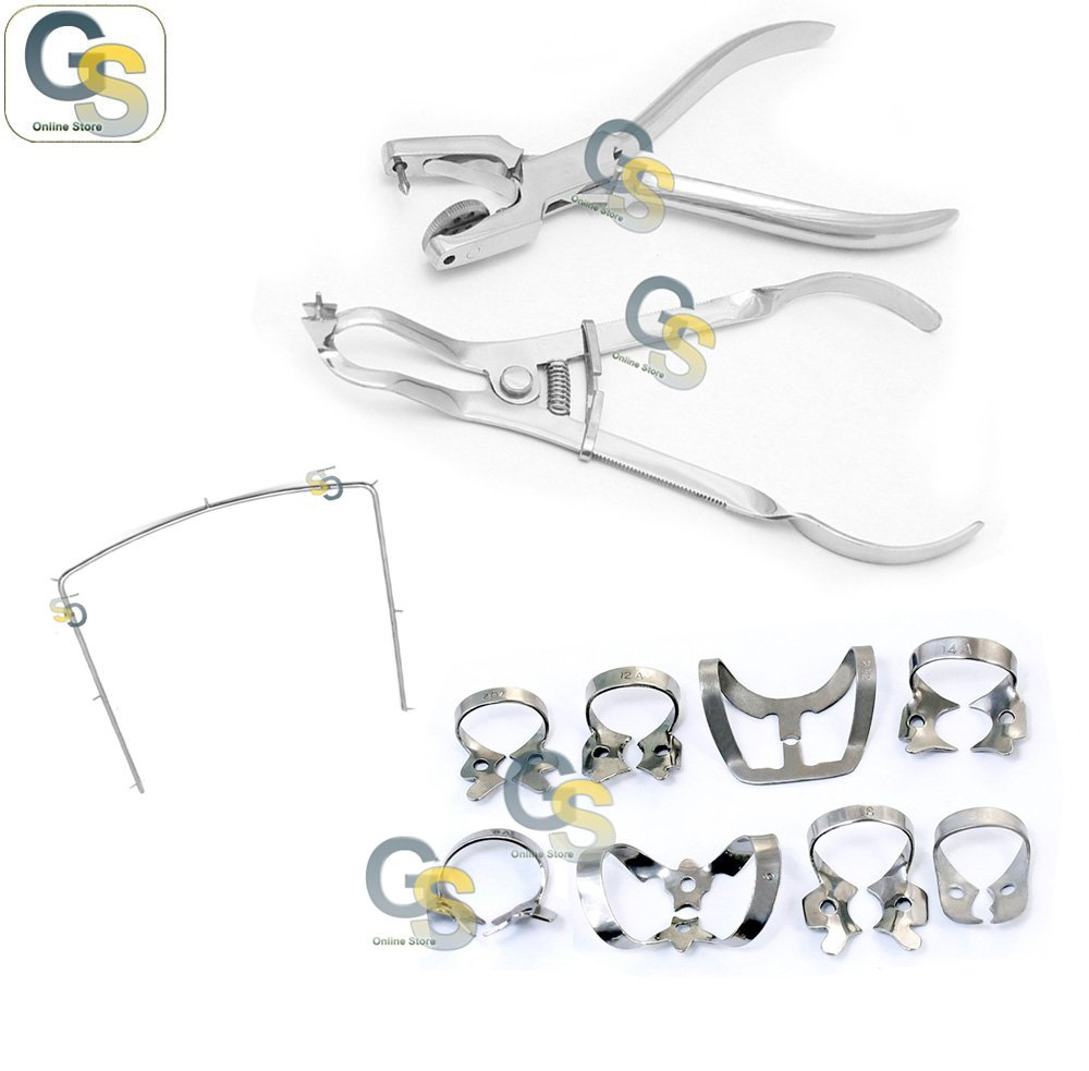 G.S DENTAL RUBBER DAM INSTRUMENTS KIT IVORY CLAMPS SET OF 8 FORCEPS AINSWORTH PLIERS