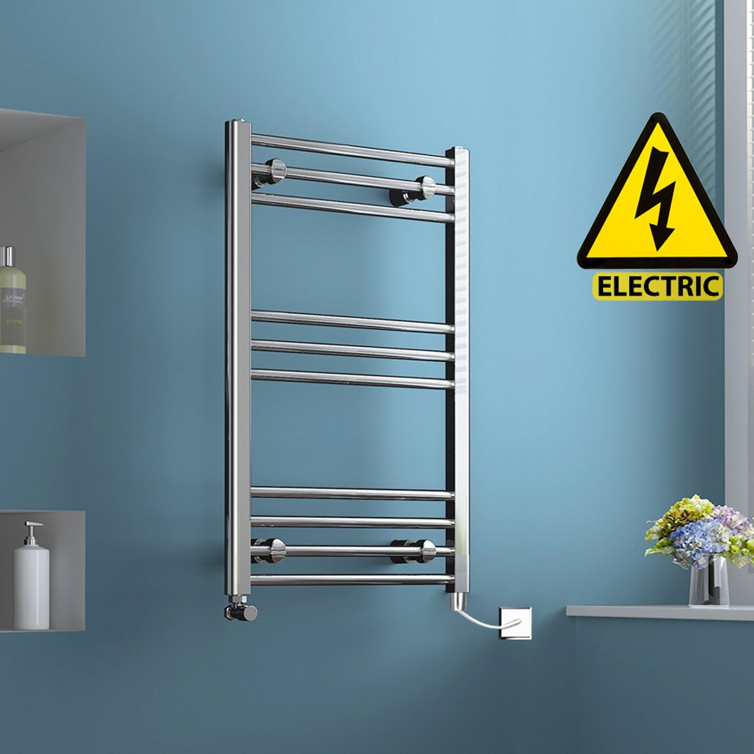 iBathUK 800 x 600 mm Electric Straight Towel Rail Radiator Chrome Heated Ladder