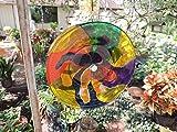 Hand Painted Glass Flower (Modern Art/Fun Design) Spinner - An original concept - - Suncatcher - Yard Art - Recycled Glass Garden Art - Wind Spinner - Free-Spirit Decor (RS55)